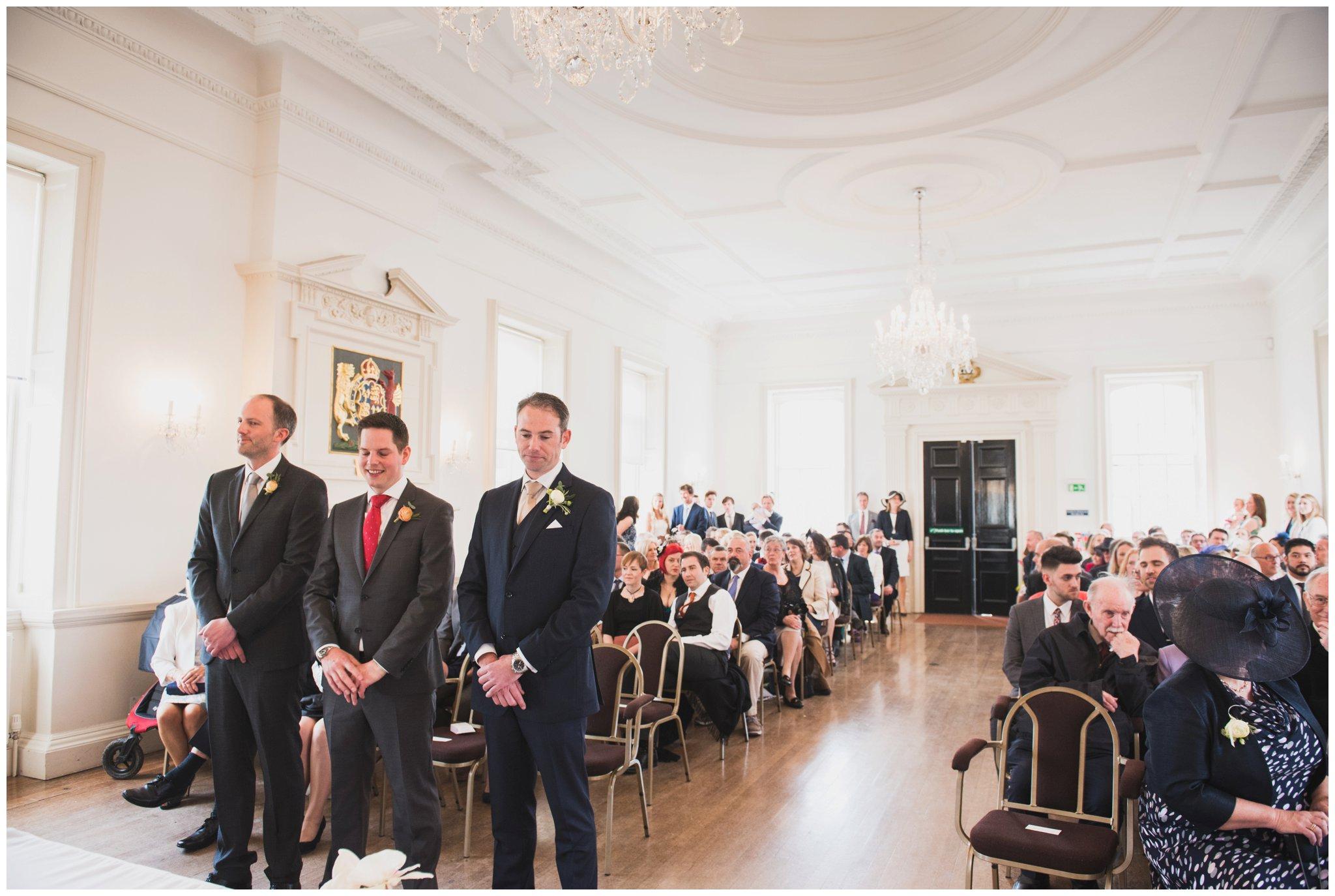 poole townhall wedding ceremony room groom waiting