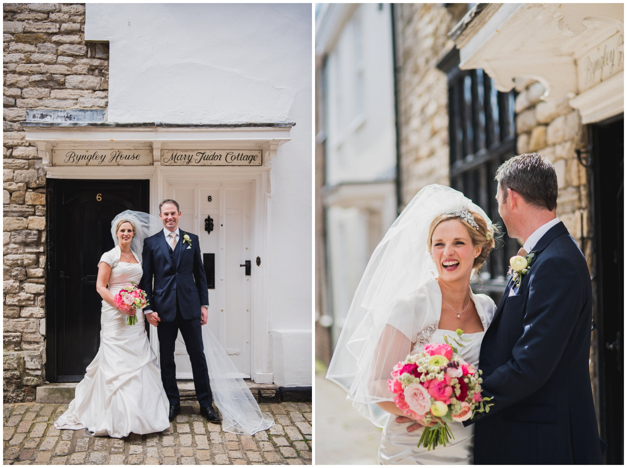 old town poole wedding cobbled streets bride laughing