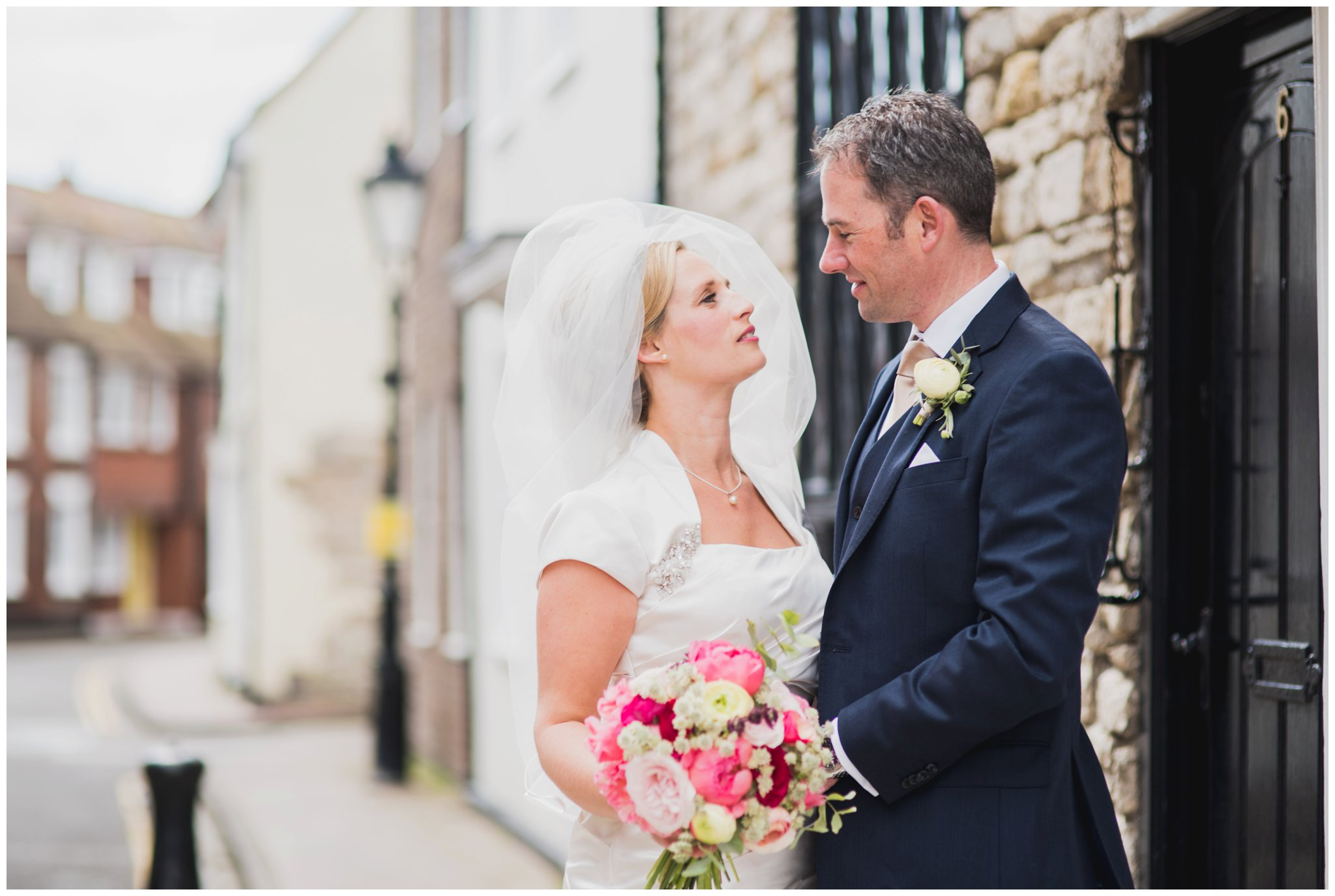 bride and groom poole cobbled streets