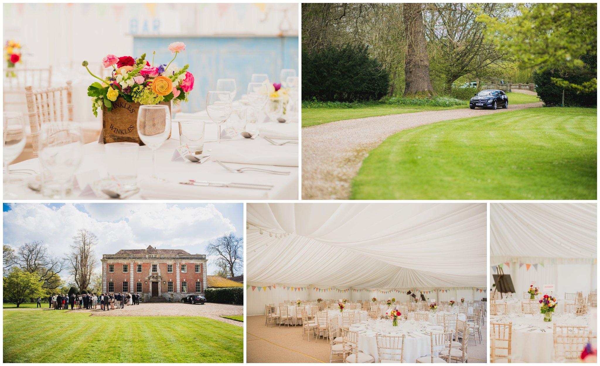 deans court wedding wimborne minster room set up flowers