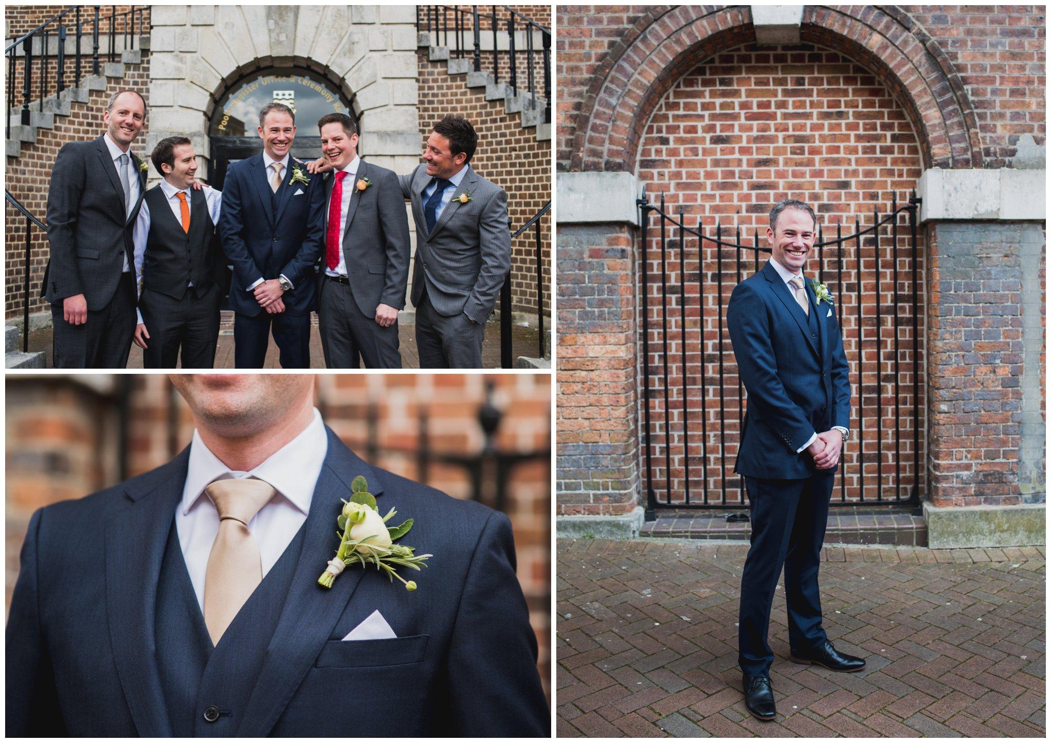 poole guildhall wedding ceremony groomsmen