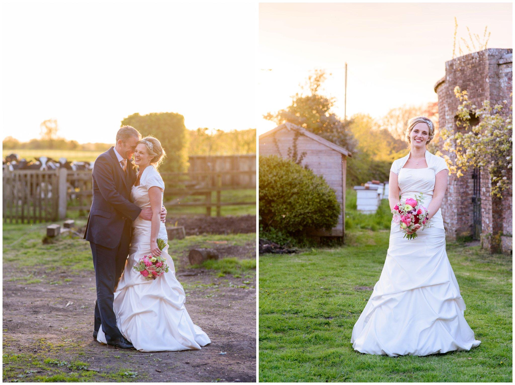 bride and groom deans court wimborne wedding sunset bride and groom