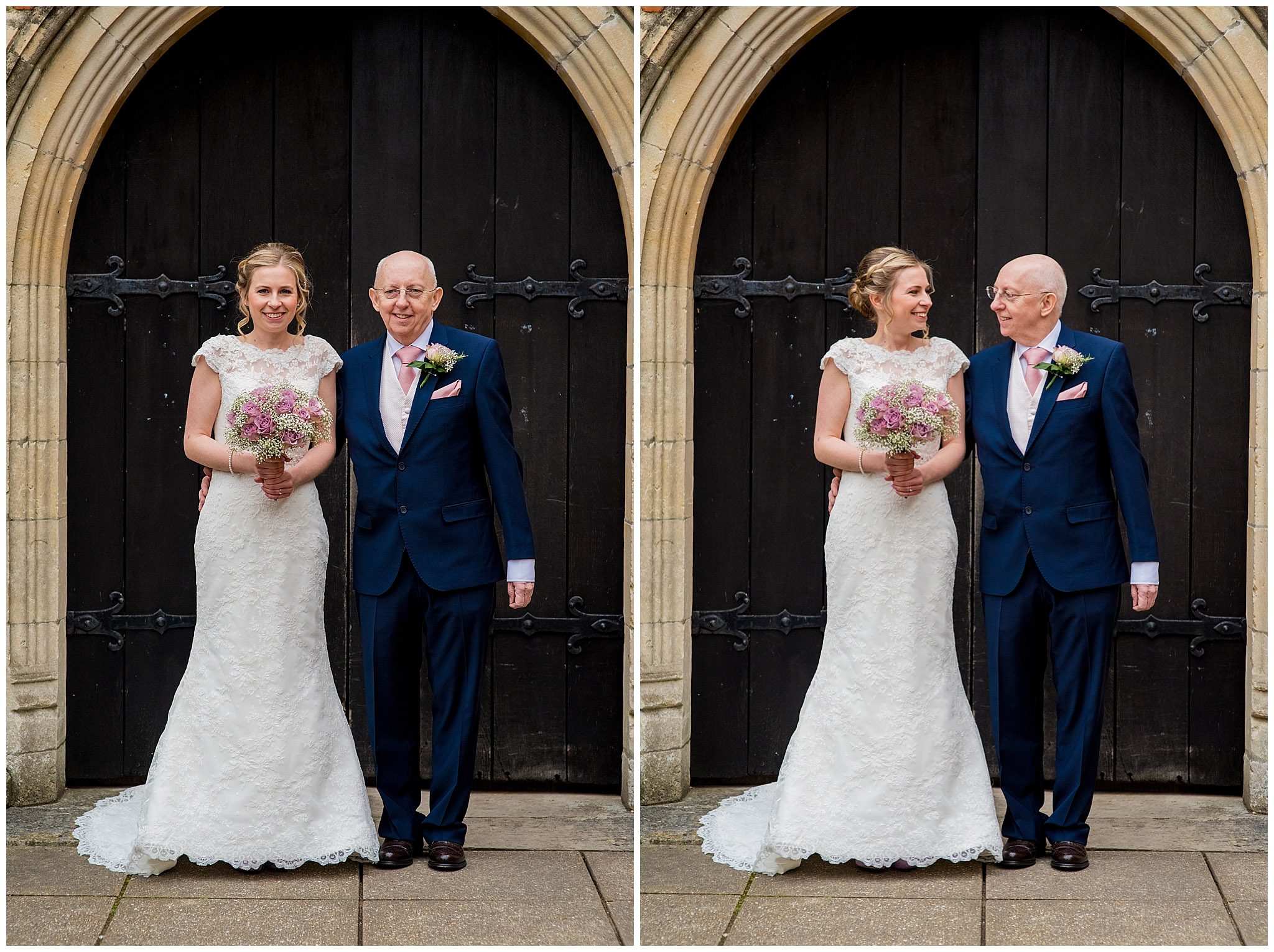 bride and father of the bride smiling stood outside church waiting to go in