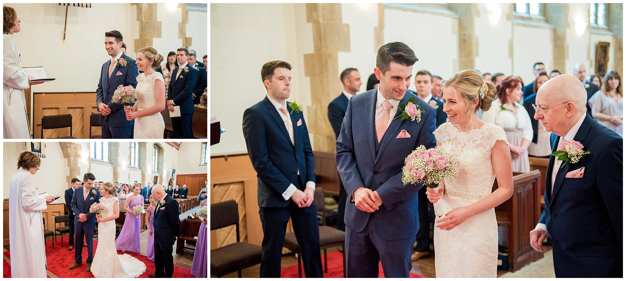 bride and groom meet at the church alter