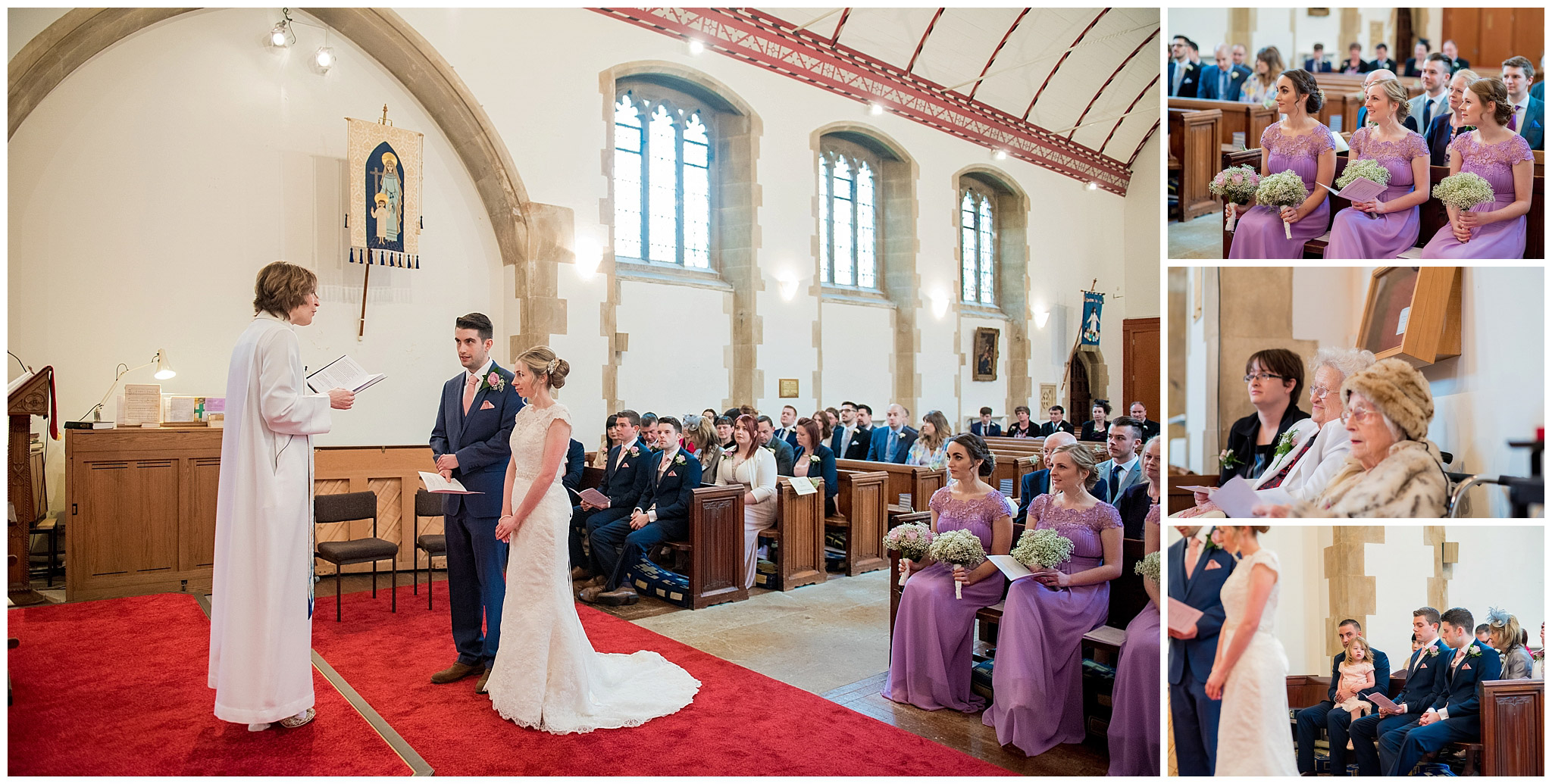 bride and groom saying their wedding vows, guests smiling and watching couple getting married