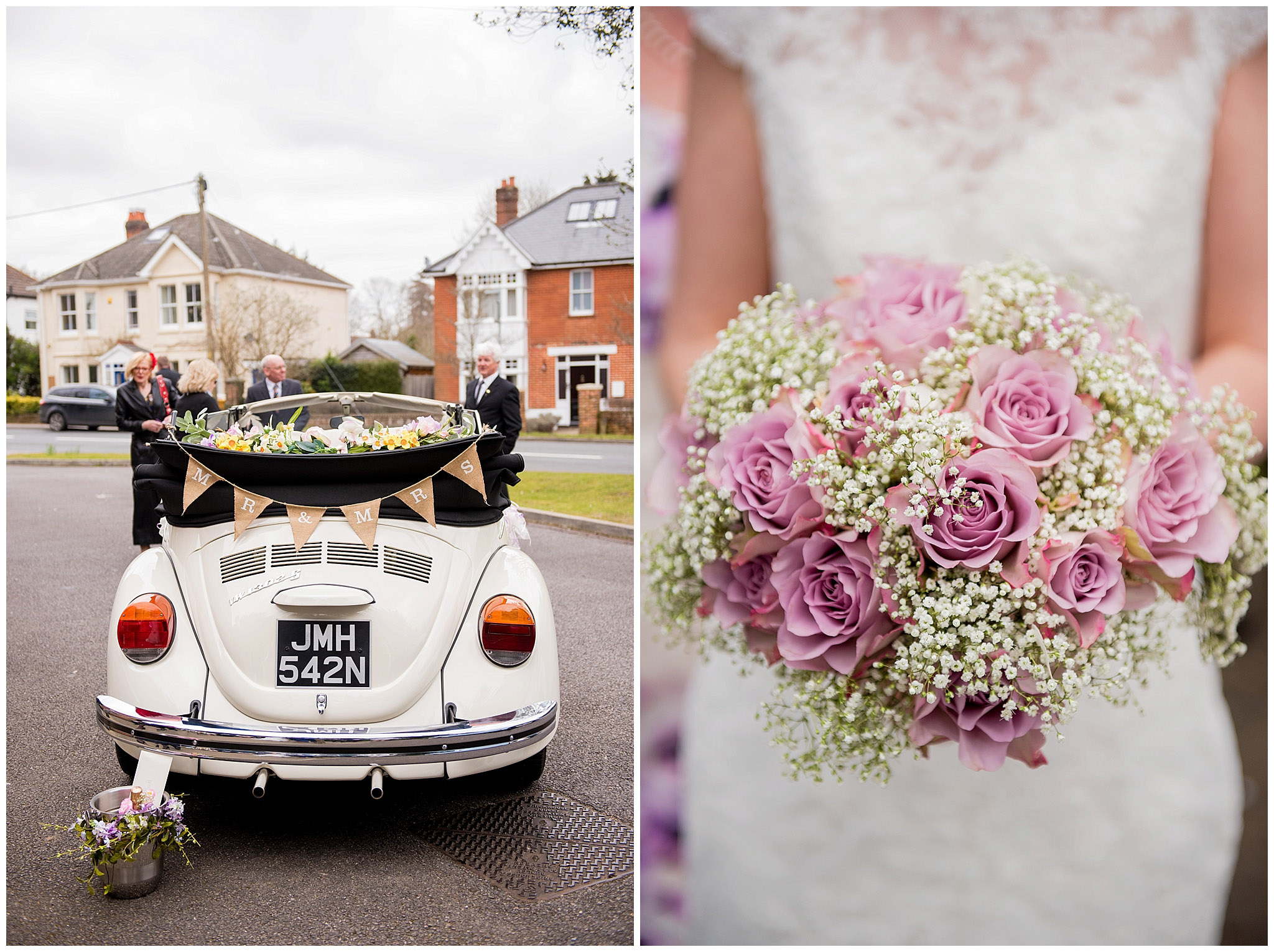 VW beetle wedding car, bride holding her bouquet