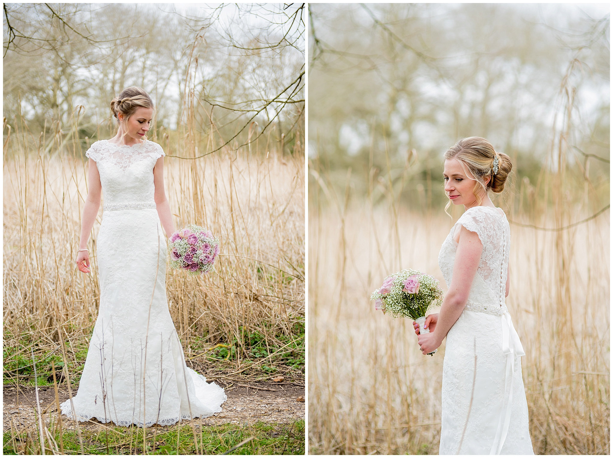 bride in long grasses holding her flowers