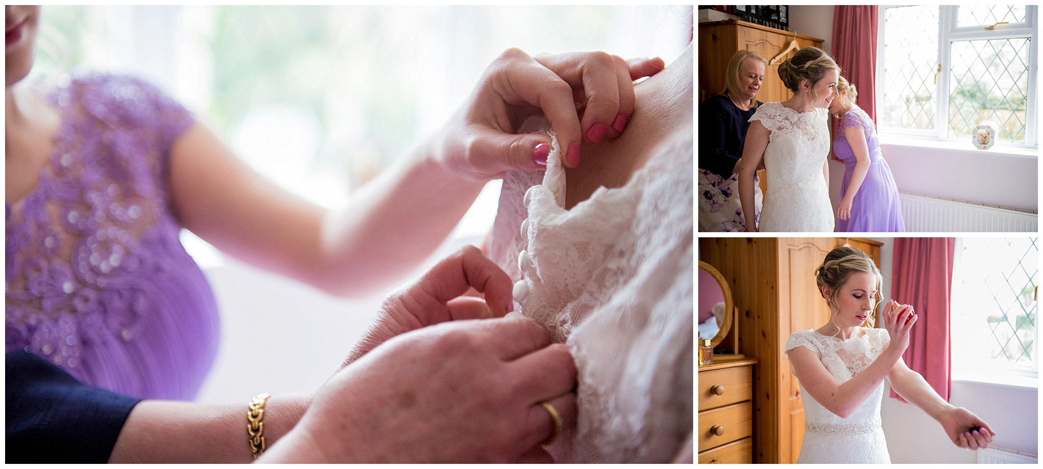 Bride getting into her wedding dress, bride putting on her perfume, brides mother helping bride into her wedding dress