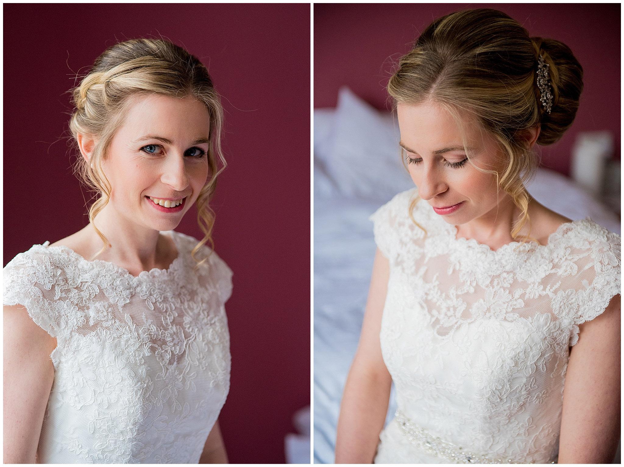 bride portrait in her wedding dress, bride smiling
