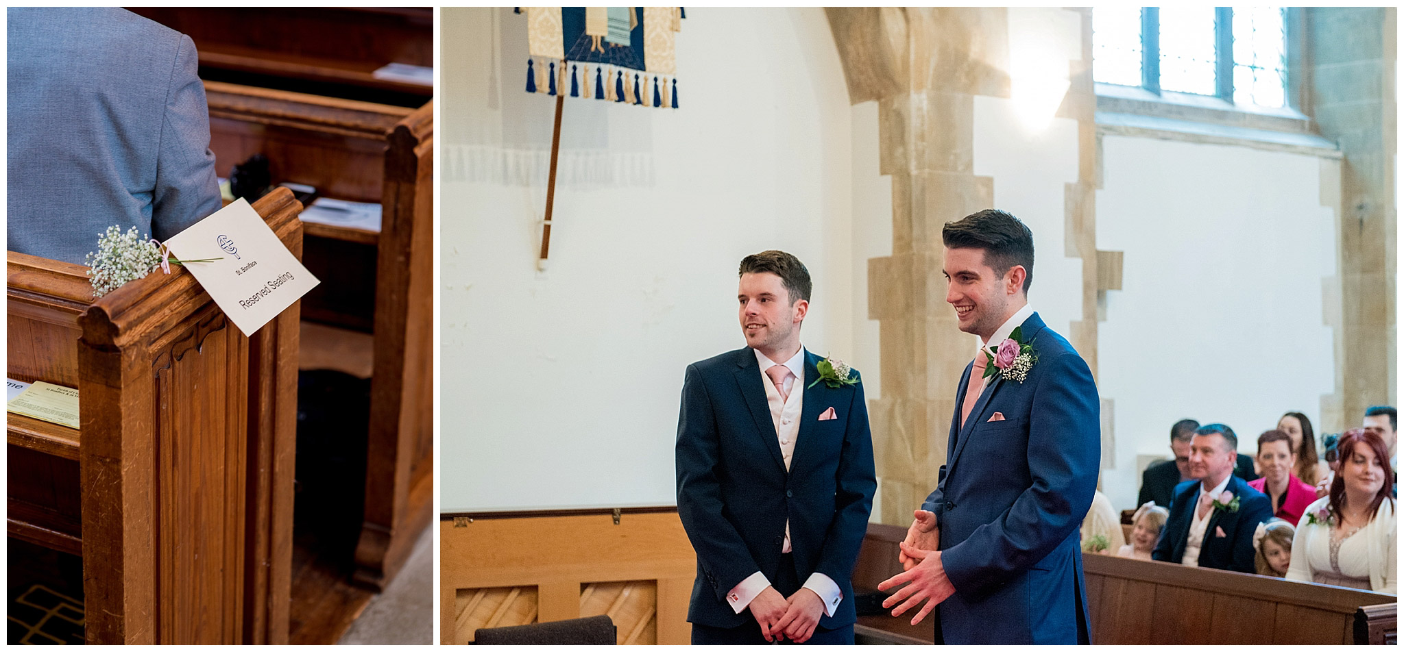 groom waiting at church alter looking nervous