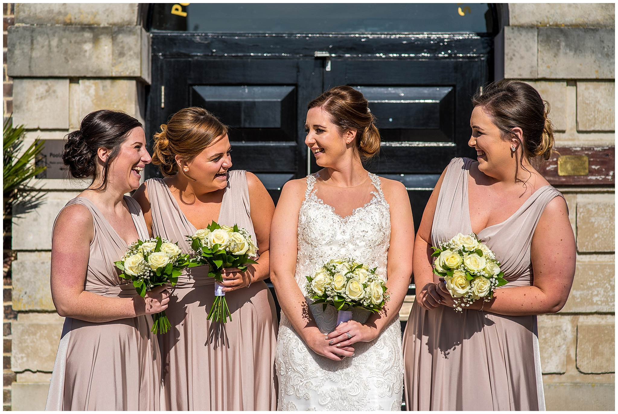 Bridesmaids relaxed photo