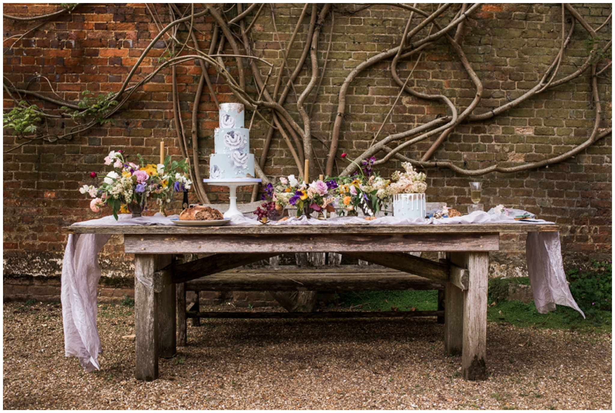 english wedding flowers and table set up