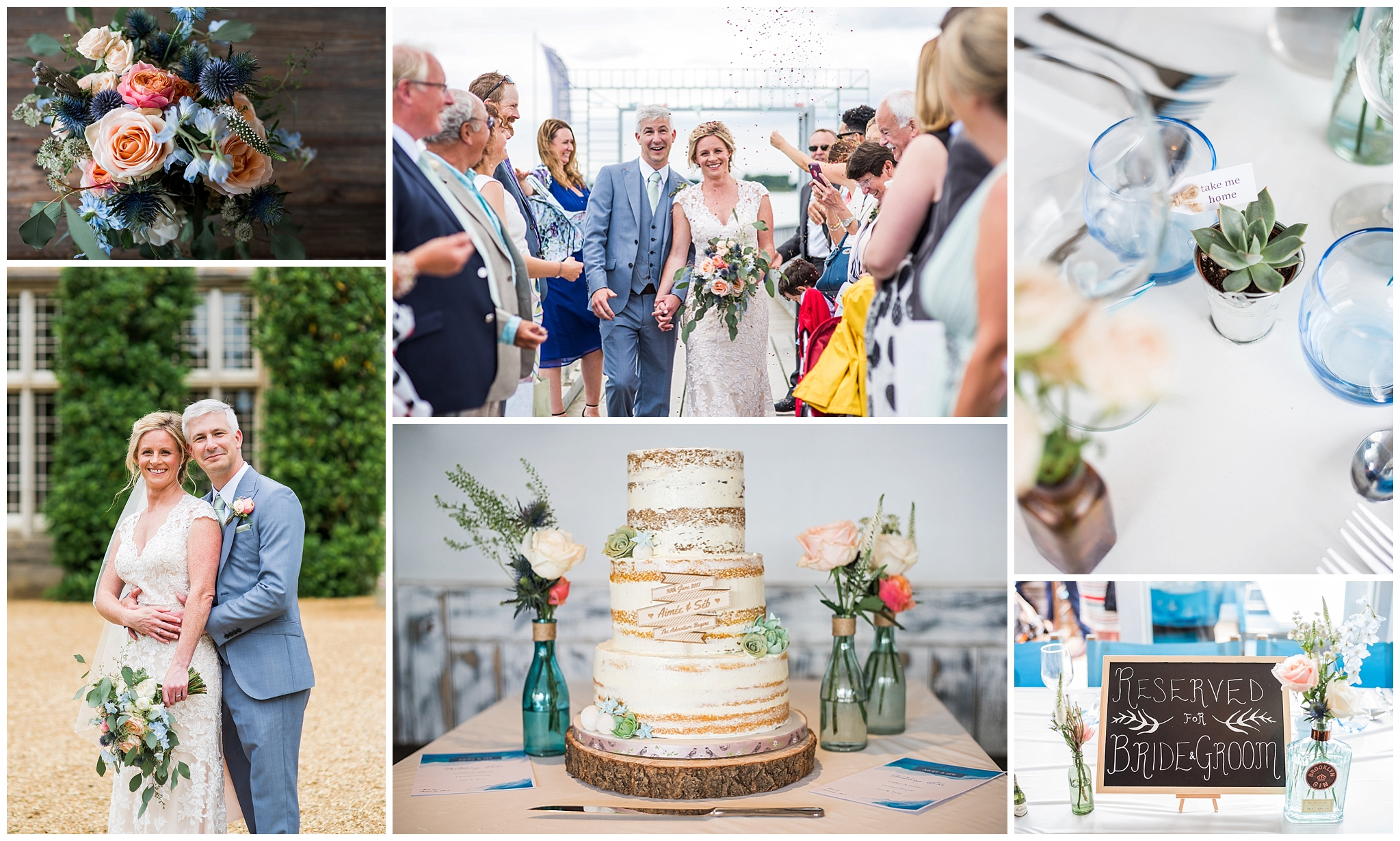 Newly weds walk through confetti