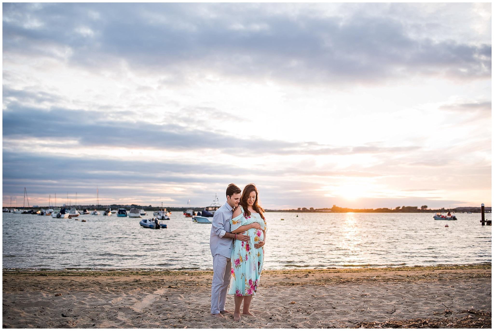 Sunset beach maternity photos Hengistbury head